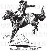 Vector Clip Art of Retro Rodeo Cowboy on a Bucking Horse 4 by BestVector
