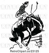 Vector Clip Art of Retro Rodeo Cowboy on a Bucking Horse by Prawny Vintage