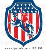 Vector Clip Art of Retro Rodeo Cowboy on a Bucking Horse in an American Flag Shield by Patrimonio