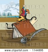 Vector Clip Art of Retro Rodeo Cowboy Riding a Book by Patrimonio