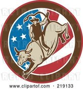 Vector Clip Art of Retro Rodeo Cowboy Riding a Bull Logo - 1 by Patrimonio