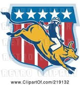 Vector Clip Art of Retro Rodeo Cowboy Riding a Bull Logo - 2 by Patrimonio