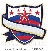 Vector Clip Art of Retro Rodeo Shield with Stars and a Blank Ribbon Banner by Patrimonio