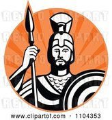 Vector Clip Art of Retro Roman Centurion Soldier with a Spear and Shield over Orange Rays by Patrimonio