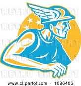 Vector Clip Art of Retro Roman God Mercury or Greek God Hermes with a Winged Hat over an Orange Circle by Patrimonio