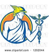 Vector Clip Art of Retro Roman God Mercury with a Caduceus in an Orange Circle by Patrimonio