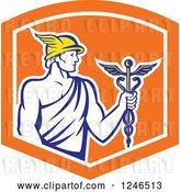 Vector Clip Art of Retro Roman God Mercury with a Caduceus in an Orange Shield by Patrimonio