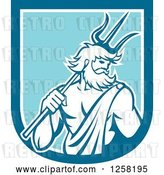 Vector Clip Art of Retro Roman Sea God, Neptune or Poseidon, with a Trident in a Blue and White Shield by Patrimonio