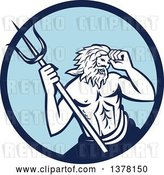 Vector Clip Art of Retro Roman Sea God, Neptune or Poseidon, with a Trident in a Blue Circle by Patrimonio