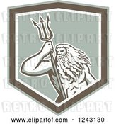 Vector Clip Art of Retro Roman Sea God, Neptune or Poseidon, with a Trident in a Shield by Patrimonio