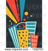 Vector Clip Art of Retro Roof Top Party on Skyscrapers by BNP Design Studio