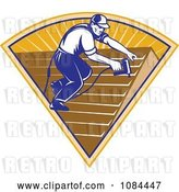 Vector Clip Art of Retro Roofer Applying Shingles by Patrimonio