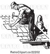 Vector Clip Art of Retro Roofer Installing Shingles by BestVector