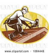 Vector Clip Art of Retro Roofer Nailing Shingles by Patrimonio
