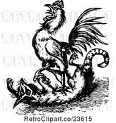 Vector Clip Art of Retro Rooster Attacking a Fox by Prawny Vintage