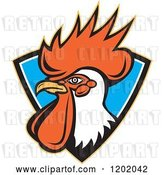 Vector Clip Art of Retro Rooster Head Emerging from a Blue Shield Crest by Patrimonio