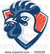 Vector Clip Art of Retro Rooster Head Emerging from a Red Ray Shield by Patrimonio
