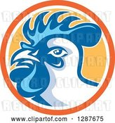 Vector Clip Art of Retro Rooster in an Orange White and Yellow Circle by Patrimonio