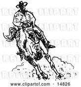 Vector Clip Art of Retro Roper Cowboy on a Horse by Andy Nortnik
