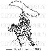 Vector Clip Art of Retro Roper Cowboy on a Horse, Using a Lasso to Catch a Cow or Horse by Andy Nortnik