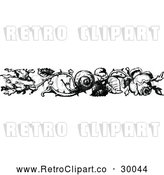 Vector Clip Art of Retro Rose and Snail Border by Prawny Vintage