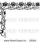 Vector Clip Art of Retro Rose Border by Prawny Vintage