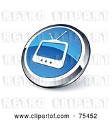 Vector Clip Art of Retro Round Blue and Chrome Box TV Web Site Button by Beboy