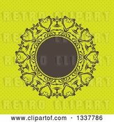 Vector Clip Art of Retro Round Brown Frame with Ornate Floral Hearts over Green Polka Dots by KJ Pargeter