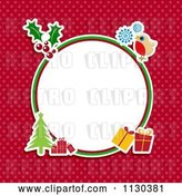 Vector Clip Art of Retro Round Christmas Frame with Items on Red Polka Dots by KJ Pargeter