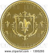 Vector Clip Art of Retro Round Fleur De Lis Coat of Arms Shield by Patrimonio