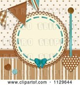 Vector Clip Art of Retro Round Frame with Banner Flags Buttons Polka Dots and Stripes in Brown and Blue by Elaineitalia