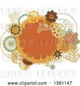 Vector Clip Art of Retro Round Steampunk Frame with Gear Cog Wheels and Pipes by BNP Design Studio