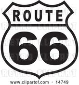 Vector Clip Art of Retro Route 66 Sign by Andy Nortnik