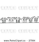 Vector Clip Art of Retro Row of Feet in the Air by Prawny Vintage