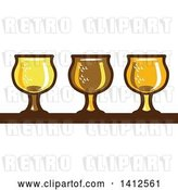 Vector Clip Art of Retro Row of Light, Dark and Ale Beer Glasses by Patrimonio