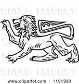 Vector Clip Art of Retro Royal Heraldic Lion by Vector Tradition SM