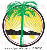 Vector Clip Art of Retro Royal Palm Tree over a Bay with Mountains at Sunset by Patrimonio