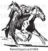 Vector Clip Art of Retro Royalty-Free (RF) Clipart Illustration of Racing Horses by BestVector