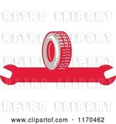 Vector Clip Art of Retro Rubber Tire and Spanner Wrench by Patrimonio
