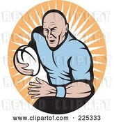 Vector Clip Art of Retro Rugby Football Player Logo - 4 by Patrimonio