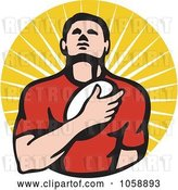 Vector Clip Art of Retro Rugby Player Holding a Ball to His Chest, over Rays by Patrimonio