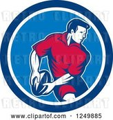 Vector Clip Art of Retro Rugby Player in a Blue Circle by Patrimonio