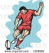 Vector Clip Art of Retro Rugby Player Kicking by Patrimonio