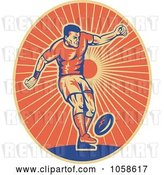 Vector Clip Art of Retro Rugby Player Kicking Logo by Patrimonio