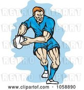 Vector Clip Art of Retro Rugby Player Running with a Ball by Patrimonio