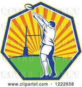 Vector Clip Art of Retro Rugby Player Throwing Against a Sunset in a Heptagon by Patrimonio