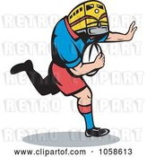 Vector Clip Art of Retro Rugby Player with a Train Head by Patrimonio