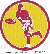 Vector Clip Art of Retro Rugby Union Player Passing a Ball in a Pink White and Yellow by Patrimonio
