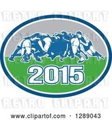 Vector Clip Art of Retro Rugby Union Players in a Scrum in a Blue White Turquoise and Gray 2015 Oval by Patrimonio