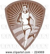 Vector Clip Art of Retro Runner on a Brown Shield Logo by Patrimonio